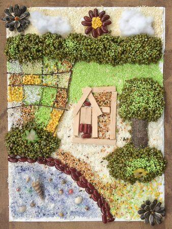 Collage art farmhouse with rich environment resource.Creative idea by material nature crafts.