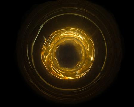 Bola de fuego abstracta con el concepto de la fuente de energía de ring.Technology.Travel en la galaxia Foto de archivo