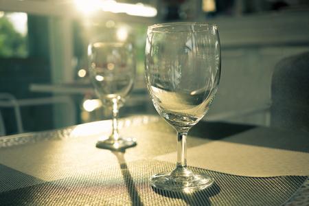 Luxury wine glass with perfect sunlight Stock Photo