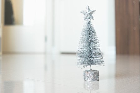 Beautiful Christmas tree in room interior. Warm family concept Stock Photo