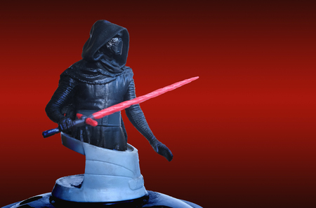 Trang Thailand - DEC 06, 2017: Kylo Ren of theatre bust series figure collection on red scene from star wars the last jedi movie. Box office greeting concept. Editorial