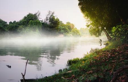 Beautiful nature in the morning near Pakbang lake Songkhla Thailand