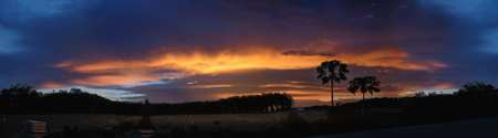 Amazing sunset panorama in the evening