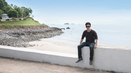 Handsome man with casual clothing in holiday