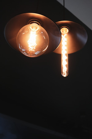Decorative antique two hanging light bulbs