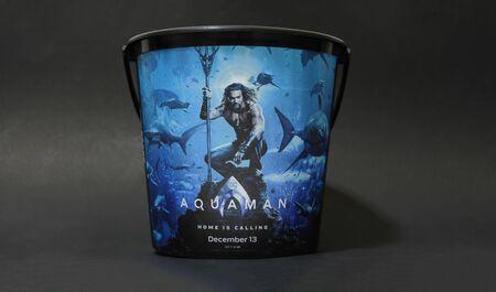 Bangkok, Thailand %u2013 December 18, 2018: A DC Comic Superhero Movie Aquaman displays on popcorn bucket at the theater Editorial