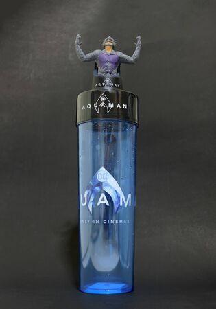 Bangkok, Thailand - December 18 : A dc comic superhero movie of Aquaman story as glass collection at SF theater