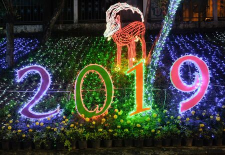 Trang,Thailand - December 26, 2018 : LED lights show on new year festival and glowing animal statue in the public garden for celebration near the clock tower