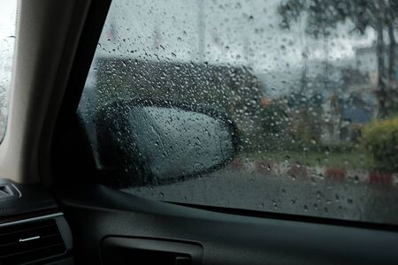 Heavy raining day while traveling on car Imagens - 131598460