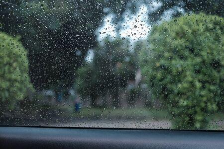 Raindrop on windscreen and beautiful trees background Banco de Imagens