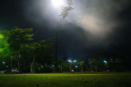Public park at night with smoke on spotlight and green grass field