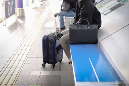 Passenger waiting for bus and sky train at the station concept