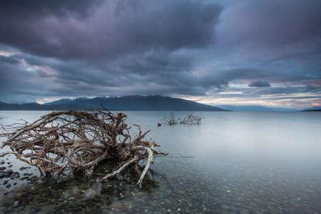 anau: Cloudy Sunset From Te Anau Stock Photo