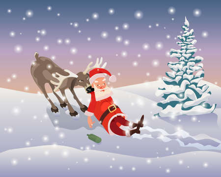 Drunk Santa drags the evil deer on a background of falling snow.