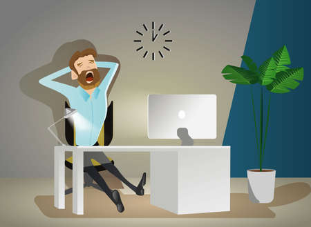 Of tired businessman working late at night in the office, vector illustration
