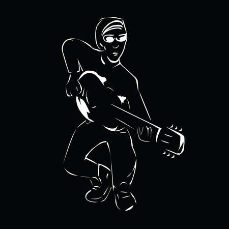 vector illustration of a silhouette of a guitarist on a black background