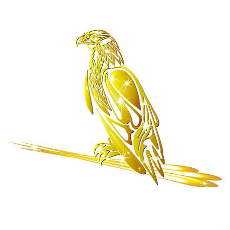 golden: Golden eagle with arrows in talons, on a white background