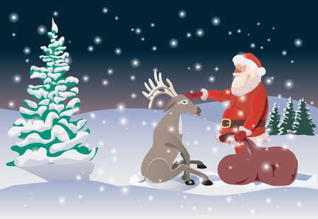vector christmas illustration of santa claus and nosed reindeer Illustration