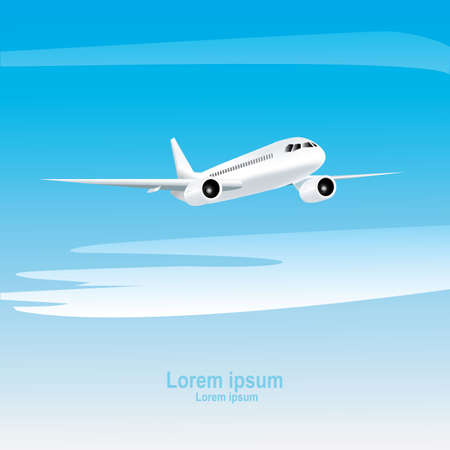Jet airplane on a blue background. Realistic vector illustration