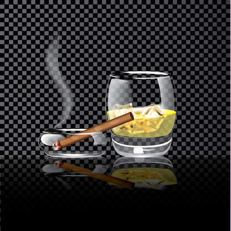 Realistic illustration of whiskey ice cigar on a transparent background Vector illustration. Vectores