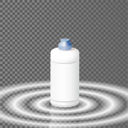 dishwashing liquid: White plastic bottle template for dishwashing liquid, cleaning agent, laundry detergent or bleach. Vector illustration. Illustration