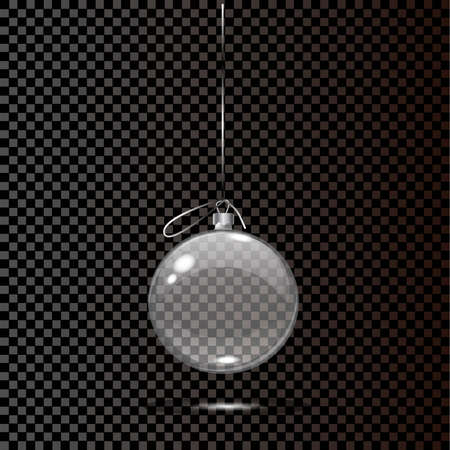 Glas Weihnachtsspielzeug auf einem transparenten Hintergrund. Stocking Weihnachtsschmuck. Transparentes Vektor-Objekt für Design, Mocap. Vektor-Illustration.