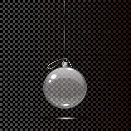 Jouet de Noël en verre sur un fond transparent. Stocker les décorations de Noël. Objet vektor transparent pour la conception, mocap. Illustration vectorielle