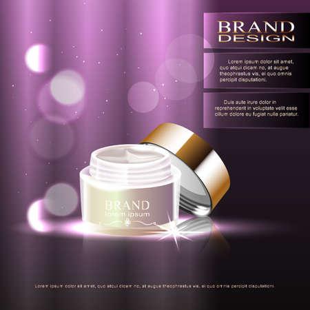 moisturizing: Pattern moisture cream ad, empty design cream bottle isolated on purple background