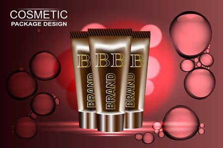 sunproof blemish balm contained in two golden tubes, golden background, 3d illustration Illustration