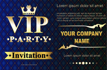 quilted: VIP party premium invitation cards posters flyers. Black and golden design template set. Glow bokeh and quilted pattern decorative design. Mosaic faceted letters.