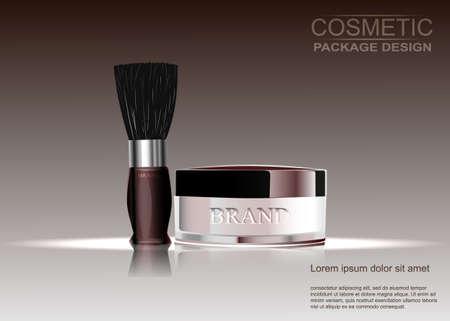 Kosmetik, Puder mit einem Besen, das Muster der Werbung. Vektor-Illustration. Vektorgrafik