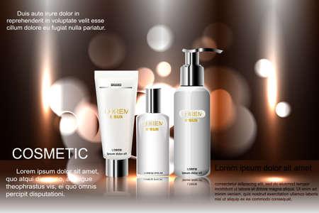 acido: Plantilla exquisita de los anuncios cosméticos, maqueta en blanco con el fondo chispeante del bokeh y efecto deslumbrante, botella del aerosol, tubo. Ilustración 3D.
