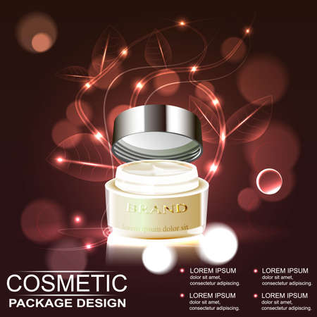 glowing skin: Premium cream ads, translucent  bottle with ingredients on the bubbles. 3D illustration. Illustration