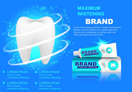 Advertising whitening toothpaste, sparkling white teeth Illustration