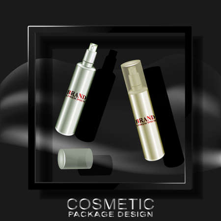 textur: Cosmetics dark background c 3D frame and shadow.