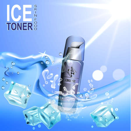 Ice toner contained in the bottle c dispenser on the background of water and ice cubes.