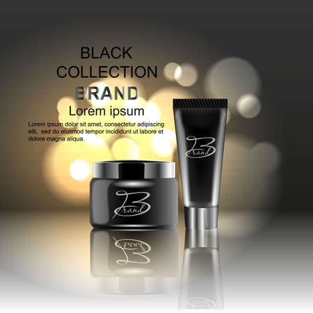 Design cosmetics advertising product on a black background. Template, blank, for your design.