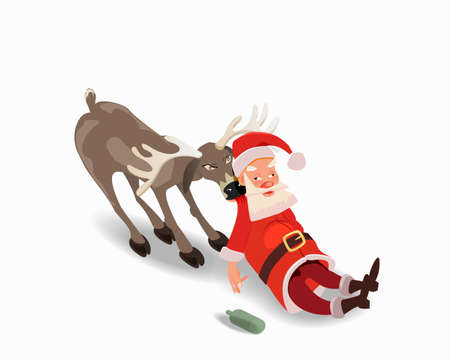 Drunk Santa Claus with a deer. Anti alcohol advertising. Illustration