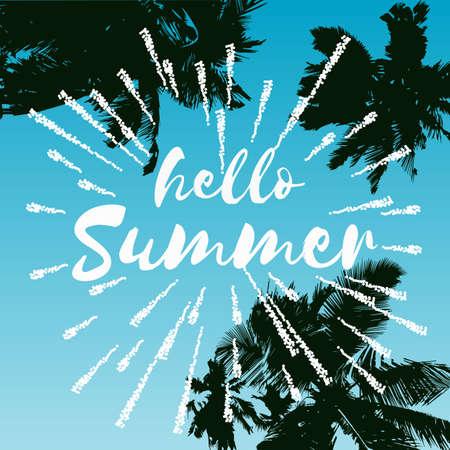 Hallo zomer vectorillustratie, achtergrond. Leuke citaat hipster ontwerp logo of label.