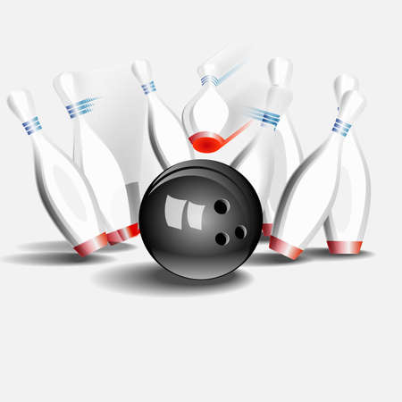 Bowling ball crashing into the pins. On a white background. Vector illustration. Illustration