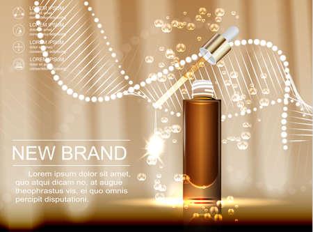 ガラス滴瓶茶色の背景に分離したエッセンス オイルで化粧品の広告テンプレート。