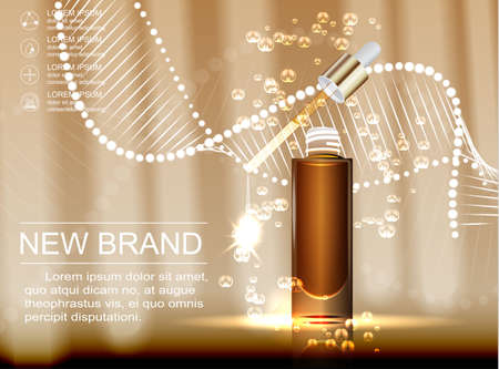 Cosmetische advertenties sjabloon, glazen druppel flesje met essentie olie geïsoleerd op bruine achtergrond. Stock Illustratie