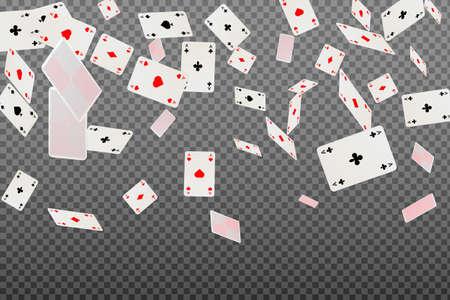 Asy do gry w karty spadające na przezroczystym tle. Ilustracje wektorowe