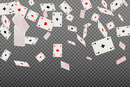 Playing cards aces falling on a transparent background.