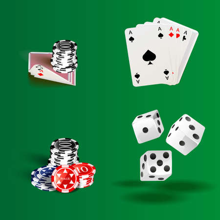 Illustration of white dice, cards and chips