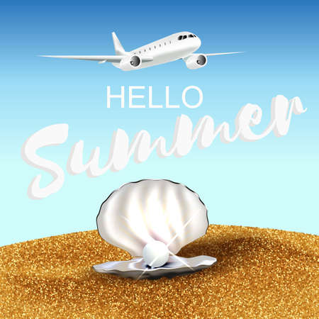 beach party: Hello summer illustration with plane sand and shell with pearl. Vector illustration.