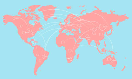 World map illustration infographics with links and random numbers. Vector illustration.