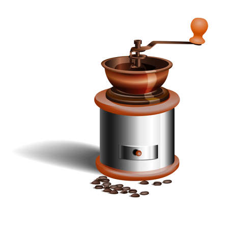 A realistic picture of the grinder and coffee beans isolated on white background. Vector illustration.