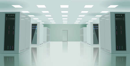 data centers: Realistic vector illustration of a server room. Illustration