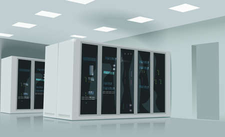 Realistic vector illustration of a server room. Illusztráció